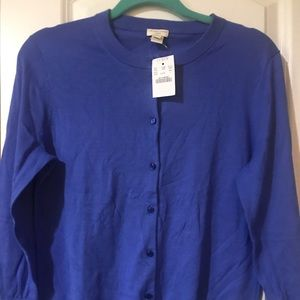 NWT j crew blue the Clare cardigan large